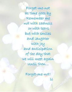Forget me not poem...lovely!