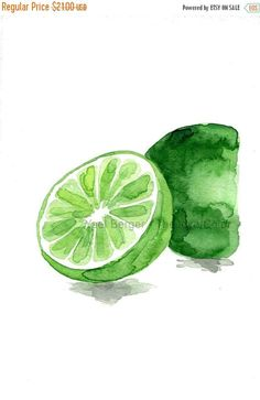 Lime art print, lime watercolor print, green, citrus print,  kitchen art, fruits art, botanical study, minimalist art, home decor