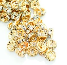 8mm rose gold plated rhinestone spacer beads w/ flat edges / 5-10 pieces