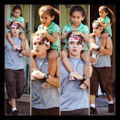 Don't normally post pictures of Michael's children, but this one is just too cute to pass up.  Prince has got his cousin Dee Dee (TJ's daughter) on his shoulders.  This was during the time that he drove (with security and his cousin TJ in the vehicle, of course) his brother Blanket to Karate class.