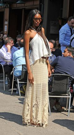 Jessica White looked 70s fab in this crocheted long skirt and eyelet top for her lunch in NYC.