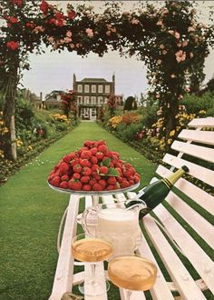 Champagne and strawberries... Petersham House, a Georgian country house in Surrey.