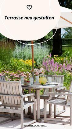 WOHNKLAMOTTE inspiriert Dich mit Ideen rund um Terrasse und Balkon. In unserem Artikel erfährst Du, wie Du Deine Terrasse neu gestalten kannst. Outdoor Furniture Sets, Outdoor Decor, Inspiration, Home Decor, Concrete Paving Slabs, Rustic Wood Furniture, Green Rooms, Small Terrace, Lounge Furniture
