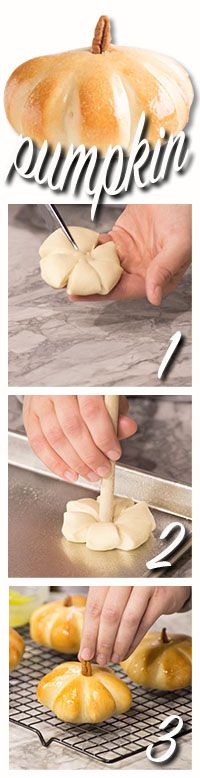how to make pumpkin shaped rolls