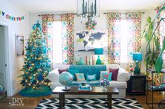 non traditional Christmas family room --- love the pillows