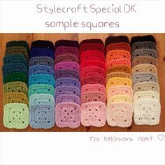 Swatches of Stylecraft Special DK yarn; a favorit e of this artist. Lovely blog from UK and superb use of color in all her items!! http://thepatchworkheartuk.blogspot.co.uk/
