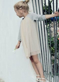 Heather grey sweater dress with cream tull part!