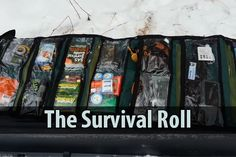 "Canadian Prepper came up with something he calls the ""survival roll."" Instead of digging through your bug out bag, you can just unroll this canvas bag."