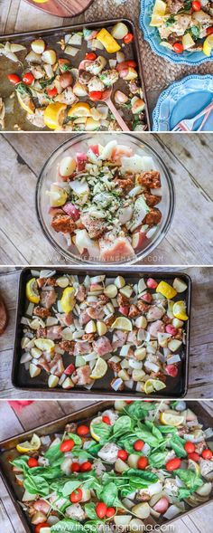 The BEST Chicken Sheet Pan dinner! Chicken, Chorizo, lemon, and lots of herbs and veggies. Delicious, quick and easy dinner idea! Tzatziki Sauce, Vegan Pizza Recipe, Pizza Recipes, Fast Recipes, Chinese Lemon Chicken, Baked Goat Cheese, One Pot Pasta, Healthy Pumpkin, Copycat Recipes