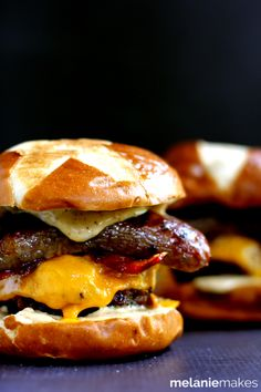 Sweet and Smoky Bacon Brat Burger ~ Ground beef seasoned with smoky mustard and steak seasoning is grilled then topped with sugar glazed bacon, cheese, and a grilled brat on a pretzel bun. Brat Burger Recipe, Burger Recipes, Beef Recipes, Cooking Recipes, Burger And Fries, Beef Burgers, Good Burger, Hamburgers, Cheeseburgers