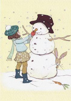 Belle & Boo postkaart - Snowman