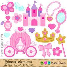 Princess Elements Clip Art Pink Princess clipart by basicpixels
