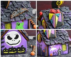 Step by step tutorial how to make one of a kind Nightmare Before Christmas Gingerbread House, with a video! Halloween Gingerbread House, Cool Gingerbread Houses, Gingerbread House Designs, Gingerbread House Parties, Gingerbread Crafts, Halloween House, Cute Halloween, Halloween Crafts, Halloween Decorations