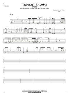 Trójkąt radości - SBB. From album Memento z banalnym tryptykiem (1980). Part: Tablature (rhythm values) for guitar - guitar 1 part