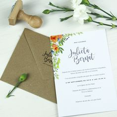 Invitación de boda YAKARTA Summer Of Love, Place Cards, Place Card Holders, Colorful, Jakarta, Personalized Wedding, Wedding Cards, Weddings