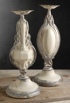 """Pressed Tin 14"""" Candle Holders Set of Two - These might not be tall enough, but they are beautiful."""