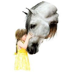 Prettyl Girl with Horse called The Kiss. ONE 18 by TheLonesomePet, $13.99