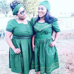 Best Shweshwe Styles Of This Week - isishweshwe African Attire, African Fashion Dresses, African Dress, Seshweshwe Dresses, Short Sleeve Dresses, Traditional, Lady, Hot, Outfits