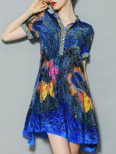 Printed V-neck Swing Mini Dress