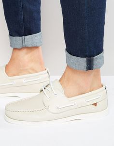 River Island Leather Boat Shoe In Off White