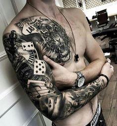 Tattoos Discover Gambler tattoo sleeve and chest piece tiger gambling tattoos tattoos for guys tatoos men Tattoo Arm Mann Dj Tattoo Card Tattoo Tattoo Life Tattoo Las Vegas Tattoo Music Chest Tattoo Tattoo Flash Bauch Tattoos Jack Daniels Tattoo, Bauch Tattoos, Tattoo Designs, Tattoo Ideas, Geniale Tattoos, Card Tattoo, Tattoo Feminina, Full Sleeve Tattoos, Angel Sleeve Tattoo