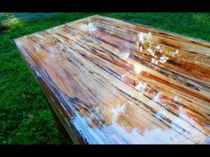 ▶ Super High Gloss Table from Tree Limb Repurposing Reclaiming prepper Woodworking UV CURE RESIN - YouTube