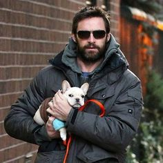 Hugh Jackman-as if les mis wasnt enough hes got the cutest and coolest dog with an even cooler name-Peaches