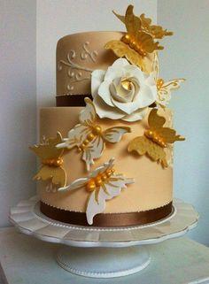 Golden butterflies cake - Cake by Bella's Bakery