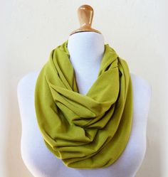 Standard-size Nomad Infinity loop cowl / scarf - YELLOW GREEN / CHARTREUSE - jersey, chain. $18.00, via Etsy.
