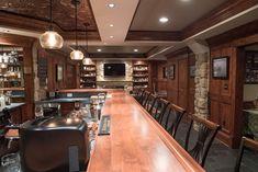 Finished Bar Photo Gallery - Bar Rails Parts - Hardwoods Incorporated Home Bar Plans, Basement Bar Plans, Basement Bar Designs, Basement House, Basement Remodeling, Basement Ceilings, Basement Bars, Basement Ideas, Man Cave Bar Designs