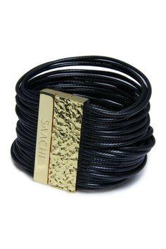 Black Leather Multi Cord Bracelet by Saachi on @HauteLook