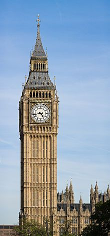 """Big Ben is the nickname for the great bell of the clock at the north end of the Palace of Westminster in London, and often extended to refer to the clock and the clock tower. The tower is now officially called the Elizabeth Tower, after being renamed (from """"Clock Tower"""") to celebrate the Diamond Jubilee of Queen Elizabeth II. The Elizabeth Tower holds the largest four-faced chiming clock in the world and is the third-tallest free-standing clock tower."""