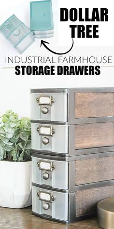 How to Get the Industrial Farmhouse Look with Dollar Tree Storage is part of Dollar store diy - WOW, this transformation is unbelievable! Inexpensive Dollar Tree storage drawers get an impressive industrial farmhouse makeover! Do It Yourself Furniture, Do It Yourself Home, Diy Furniture, Furniture Market, Furniture Movers, Furniture Stores, Furniture Design, Industrial Farmhouse, Industrial House