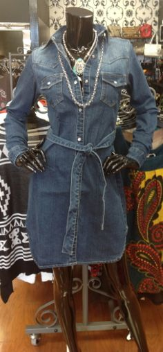 Pearl Snap Denim Dress...comes with belt. Fabulous with boots and turquoise jewelry!!  I want this!!
