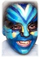 Natural Avatar Face paint colors used:  Royal Blue Aqua Black White Yellow