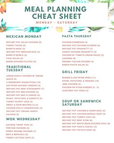 I made a Meal Planning Cheat Sheet for my WW friendly recipes! I have noted the WW freestyle smart points for my recipes from the WW recipe builder. Im still working on the day of the week themes but this will do for now! Monthly Meal Planning, Family Meal Planning, Budget Meal Planning, Budget Meals, Weekly Meal Plan Family, Weekly Dinner Plan, Weekly Meal Plans, Healthy Meal Planning, Healthy Weekly Meal Plan