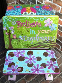 Hand Painted Owl Old Fashioned School Desk