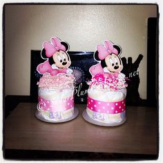 Baby Minnie Mouse Diaper Cake Mini- Baby shower or birthday decorations on Etsy, $8.50