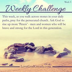 {Week 5 - Challenge} This week, as you walk across stones in your daily paths, pray for the persecuted church. Ask God to rise up more 'Peters' - men and women who will be brave and strong for the Lord in this generation. LoveGodGreatly.com