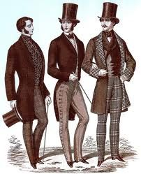 The 1850s in men's fashion. Tall top hats were worn with formal dress