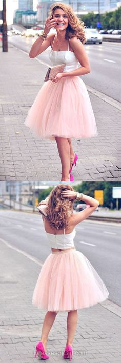 Two Piece Prom Dress, Pink Prom Dresses, Cute Homecoming Dress, Short Homecoming Dresses, Tulle Cocktail Dress