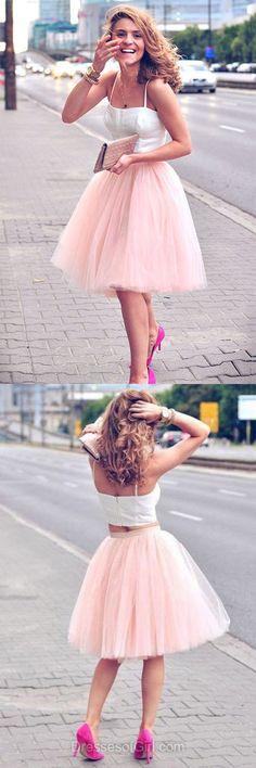 Two Piece Prom Dress, Pink Prom Dresses, Cute Homecoming Dress, Short Homecoming Dresses, Tulle Cocktail Dress