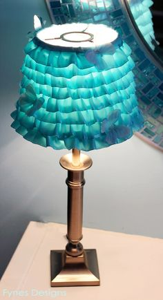"Create a beautiful DIY Ribbon Lamp Shade. A Perfect way to shine light on Autism Awareness for the ""Light It Up Blue"" campaign."