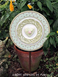 Plate flower with vintage English china by Garden Whimsies by Mary