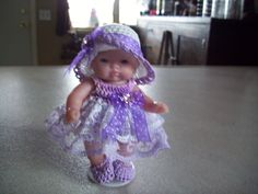 "Berenguer 5"" Baby Dolls - Lavender/white lace baby doll #55  More can be seen on Pinterest under Jana Langley Berenguer 5"" Dolls with crocheted outfits"
