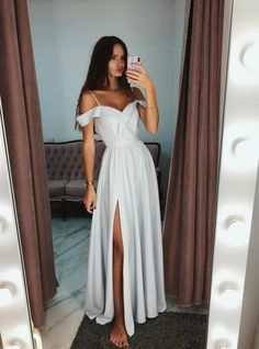 A-Line Spaghetti Straps Gray Long Prom Dress With Side Split – kemedress Gray Formal Dress, Long Formal Gowns, Grey Prom Dress, Tulle Bridesmaid Dress, Long Grey Dress, Long Tulle Dress, White Prom Dresses, Long Elegant Dresses, Cheap Prom Dresses