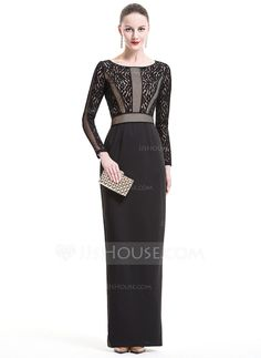 Sheath/Column Scoop Neck Floor-Length Zipper Up Sleeves Long Sleeves No 2016 Black Winter Spring Fall General Plus Lace Evening Dress