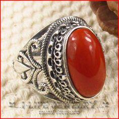 2014 mode 925 Sterling Silver jepang Korea selatan alam batu akik merah antik band cincin tanpa batu untuk gadis