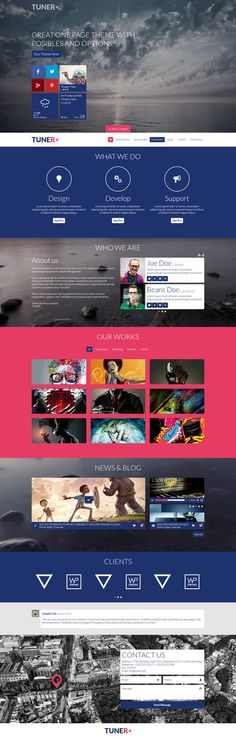 Buy Tuner - One Page Portfolio PSD Template by DZOAN on ThemeForest. TUNER is a unique and creative PSD template with modern flat and responsive design. Flat Web Design, Web Ui Design, Web Design Trends, Web Design Company, Page Design, Graphic Design, Design Design, Wireframe, Web Layout