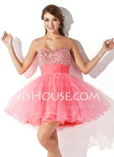 Homecoming Dresses - $135.99 - A-Line/Princess Sweetheart Short/Mini Tulle Homecoming Dress With Ruffle Beading (022009105) http://jjshouse.com/A-Line-Princess-Sweetheart-Short-Mini-Tulle-Homecoming-Dress-With-Ruffle-Beading-022009105-g9105